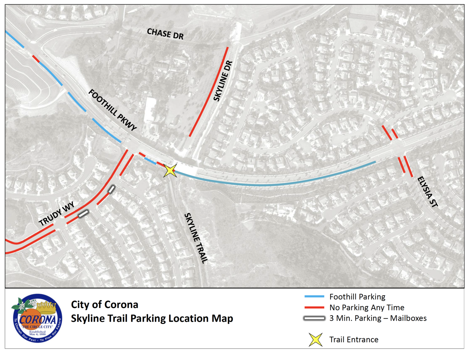 Skyline Trail Parking Location Map