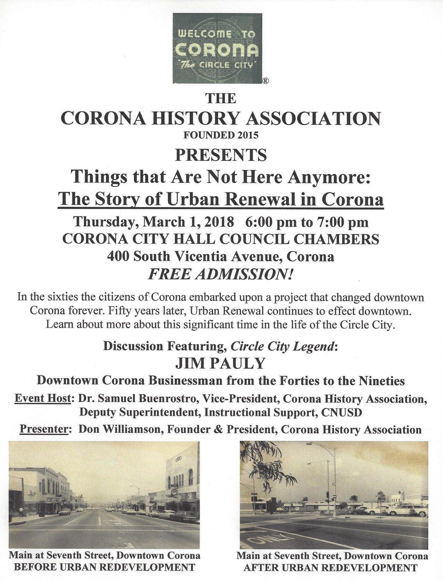 Corona History Association presents