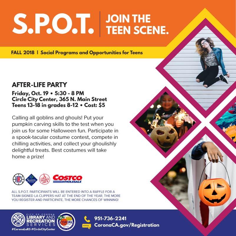 Corona Is S P O T On Spook Tacular Teen Activities Event News City Of Corona