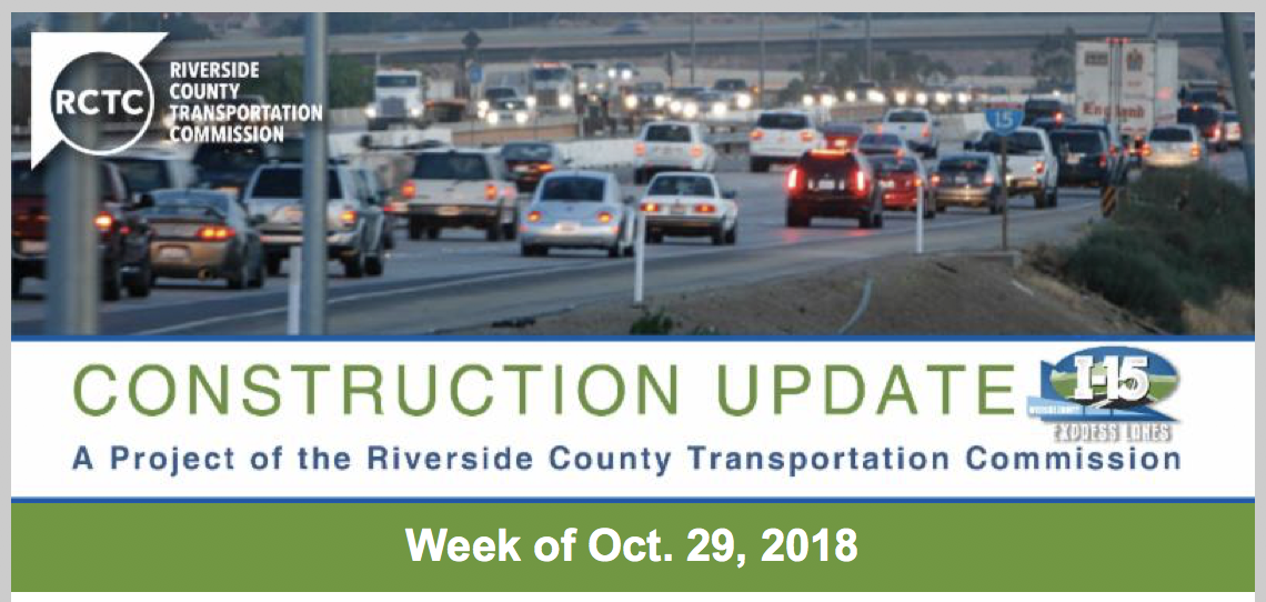 Construction Update - Week of Oct. 29, 2018