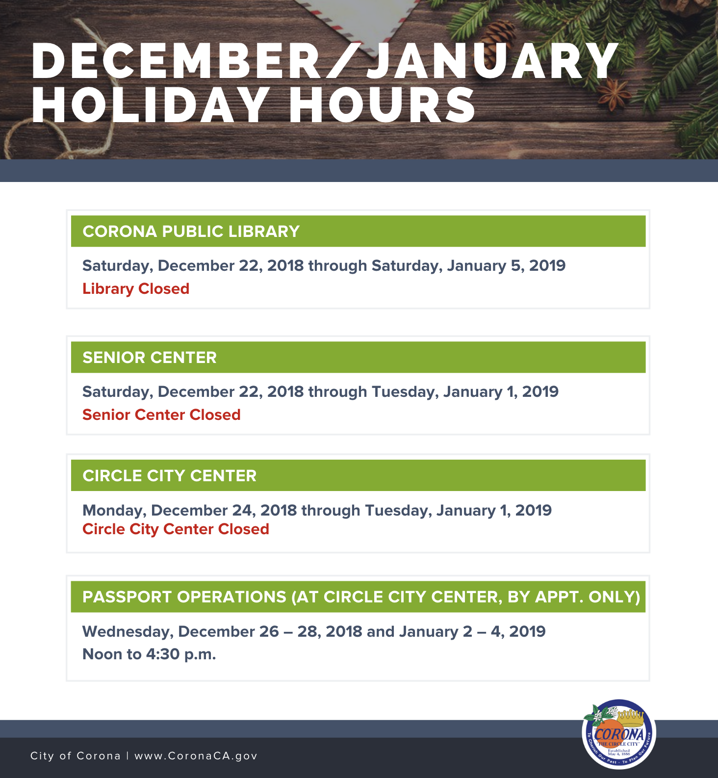 December/January Holiday Hours