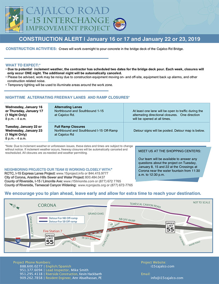 Cajalco Rd/I-15 Interchange Project Construction Alert | January 16