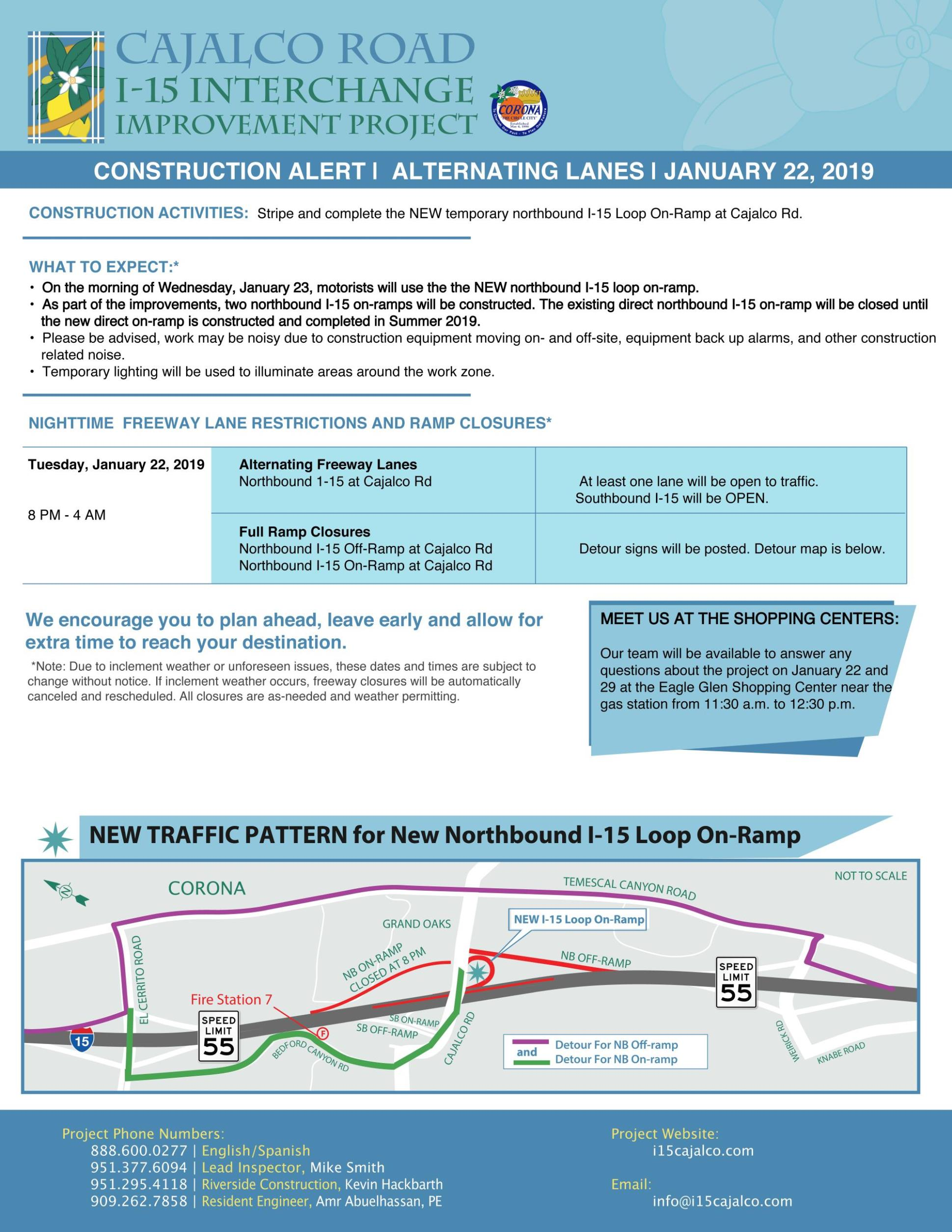 Cajalco Rd/I-15 Interchange Project Construction Alert