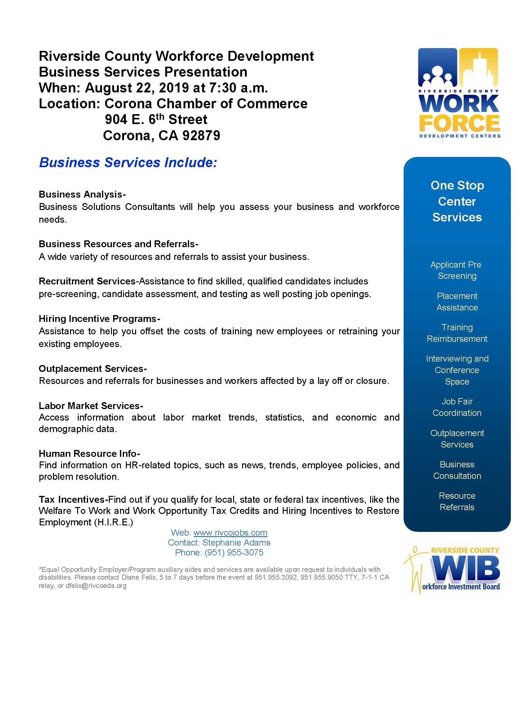 Riverside County Workforce Development Business Services