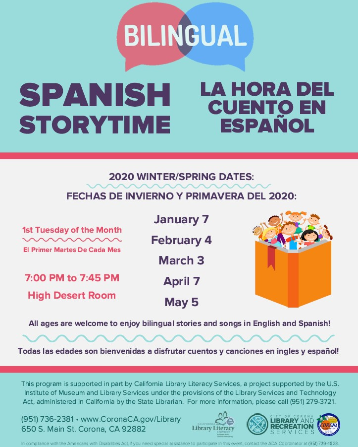 Spanish Bilingual Storytime Winter Spring 2020