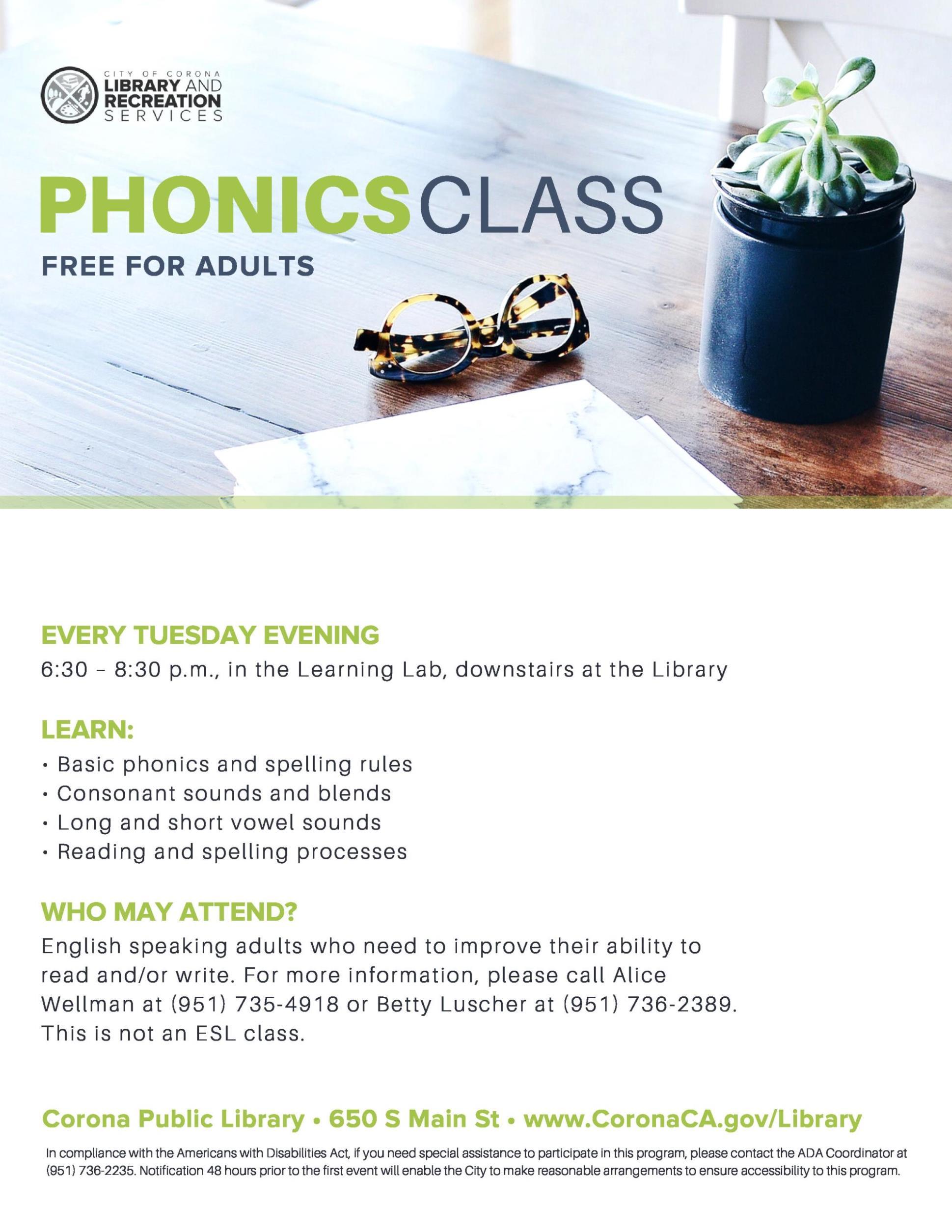 Phonics Class   City Calendar   City of Corona